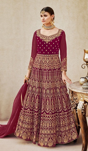 Maroon Velvet Embroidery Work Anarkali Suit With Dupatta