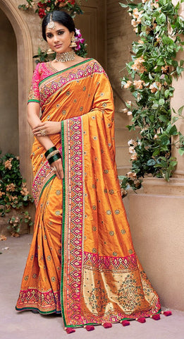 Yellow Banarasi Pure Silk  Wedding Wear Saree With Blouse