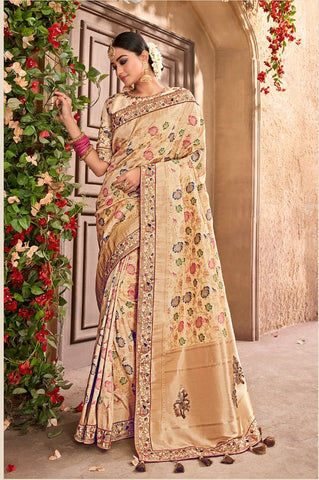 Off White Banarasi Pure Silk  Wedding Wear Saree With Blouse