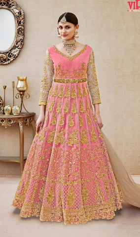 Net Top and Silk Inner Embroidery Work Pink Anarkali Suit With Dupatta