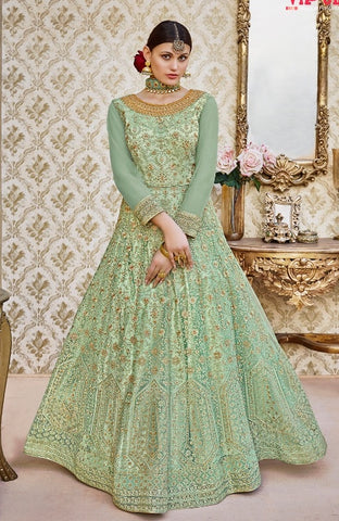 Net Green Embroidery Work Anarkali Suit With Dupatta