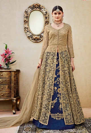 Jacket Style Front Slit Embroidery Golden Beige Blue Anarkali Wth Dupatta