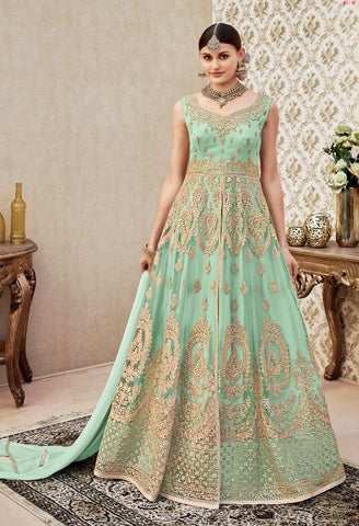 Gown Style Cyan Embroidery Anarkali With Dupatta