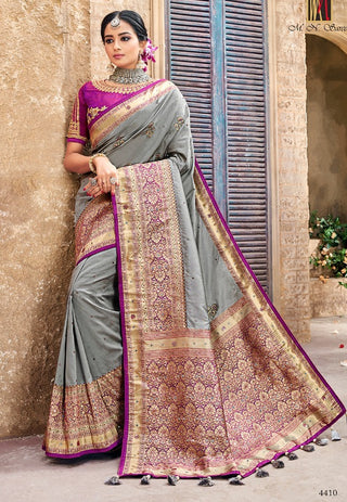 Grey Banarasi Pure Silk  Wedding Wear Saree With Blouse