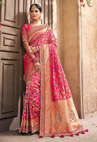 Pink Banarasi Pure Silk  Wedding Wear Saree With Blouse