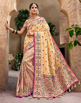 Beige Banarasi Pure Silk  Wedding Wear Saree With Blouse