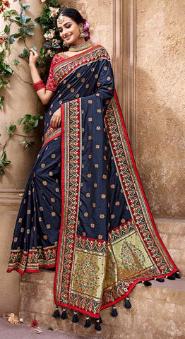 Blue Banarasi Pure Silk  Wedding Wear Saree With Blouse