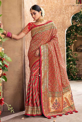 Red Banarasi Pure Silk  Wedding Wear Saree With Blouse