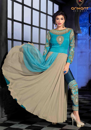 Designer blue and beige long anarkali suits with heavy embroidery on bottom