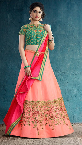 Peach Silk Party Wear Lehenga With Pink Dupatta