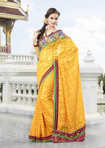 Yellow Jacquard Saree with embroidery and handwork