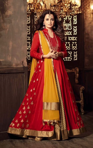 Bright Red Party Wear  Embroidery Anarkali Style Salwar Kameez With Dupatta
