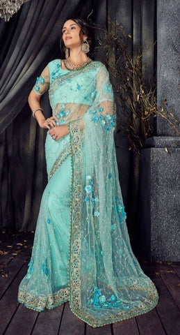 Blue Net Party Wear  Saree With Blouse