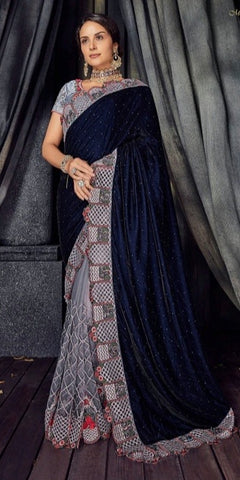Grey Velvet Party Wear  Saree With Blouse