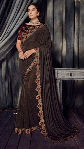 Brown Imported Fabric Party Wear  Saree With Blouse
