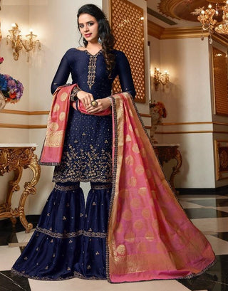Blue Satin Georgette Sharara Salwar Kameez With Dupatta