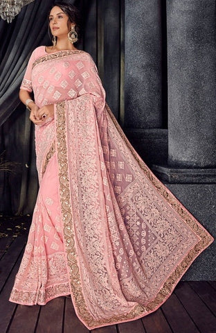Pink Bemberg Party Wear  Saree With Blouse