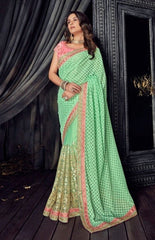 Green Lucknowi Party Wear  Saree With Blouse