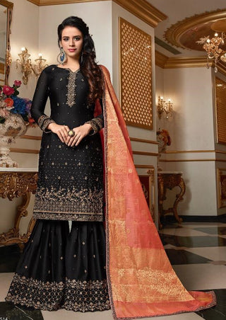 Black Satin Georgette Sharara Suit With Dupatta