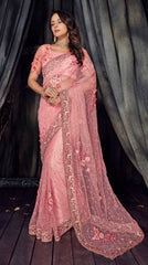 Pink Net Party Wear  Saree With Blouse