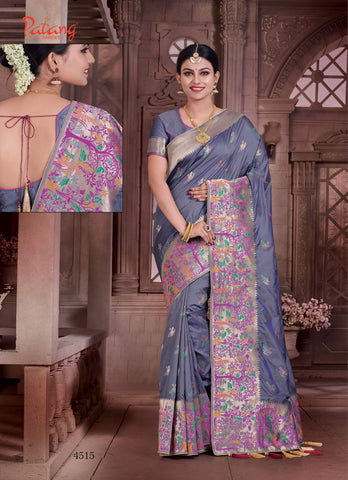 Blue Banarsi Silk Banarsi Saree With Blouse