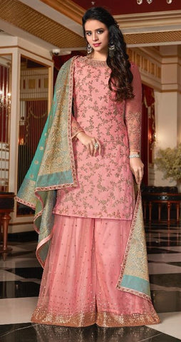 Pink Satin Georgette Sharara Suit With Dupatta