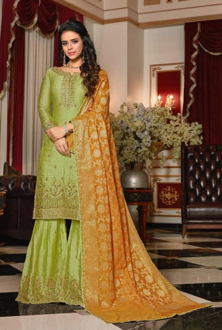Green Satin Georgette Sharara Suit With Dupatta