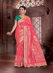 Red Banarsi Silk Banarsi Saree With Blouse
