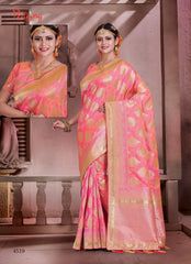 Pink Banarsi Silk Banarsi Saree With Blouse