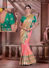 Peach Banarsi Silk Banarsi Saree With Blouse