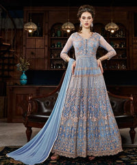 Blue Net Party Wear Anarkali With Blue Dupatta