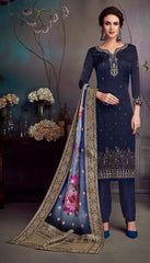 Blue Satin Georgette Party Wear Salwar Kameez With  Dupatta