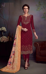 Maroon Satin Georgette Party Wear Salwar Kameez With  Dupatta