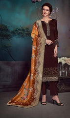 Dark Brown Satin Georgette Party Wear Salwar Suit With  Dupatta