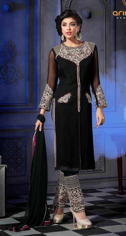 Black straight knee length salwar suits with heavy embroidery on full suits