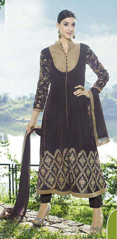 Designer velvet heavy embroidered straight knee length suits with chiffon dupatta