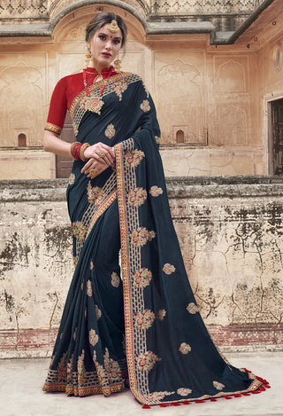 Dark Blue Georgette Party Wear Saree With Red Blouse