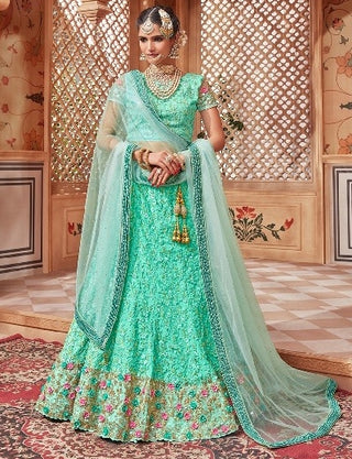 Blue Net Party Wear Lehenga With Blue Dupatta