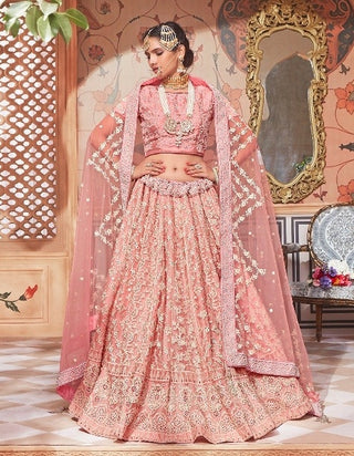 Pink Net Party Wear Lehenga With Pink Dupatta