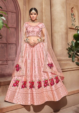 Pink Satin Party Wear Lehenga With Pink Dupatta