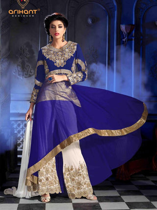 Blue and beige short long designer anarkali suits with heavy embroidery top and bottom