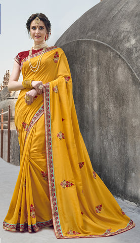 Yellow Georgette Party Wear Saree With Red Blouse