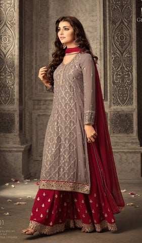 Dark Beige And Maroon Sharara Style Suit With Dupatta