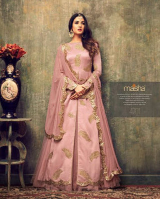 Pink Color Net Front Slit Type Anarkali Suit Along With Dupatta