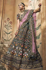 Green Velvet Bridal Lehenga With Purple Dupatta