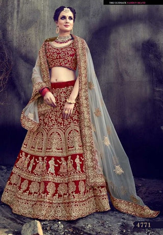 Embroidered Red Bridal Velvet Lehenga With Choli And Dupatta