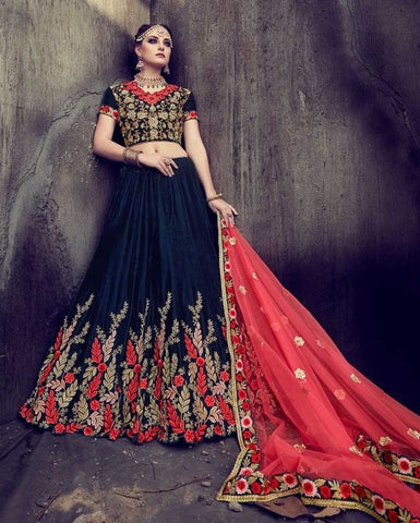 Blue Heavy Embroidered Velvet Lehenga With Velvet Choli And Net Dupatta