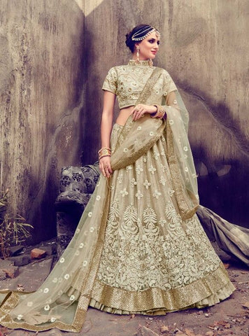 Bridal Beige Georgette Lehenga With Silk Blouse and Net Dupatta
