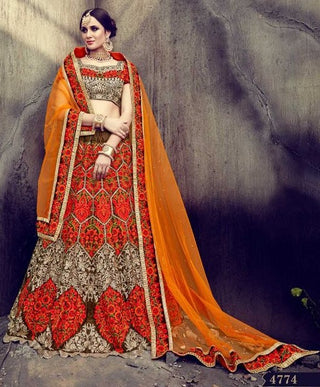 Orange Velvet Bridal Lehenga With Thread Embroidery And With Choli And Dupatta