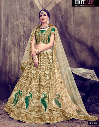 Bridal Embroidered Beige Green Lehenga And Choli With Dupatta